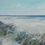 calm painting with water and beach