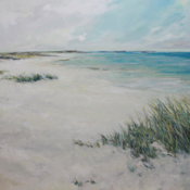 Beach painting with grasses
