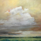 Clouds and field painting