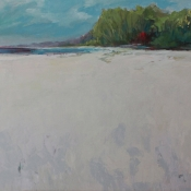 calm and serene painting of beach