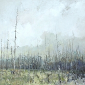 dividers, painting of dying birch trees, ottawa