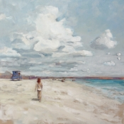 clouds, beach, figure