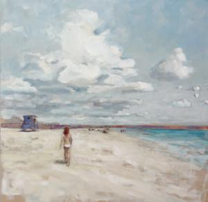 clouds, beach, figure