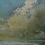 clouds, beach water
