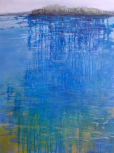water, blues. reflection, shore