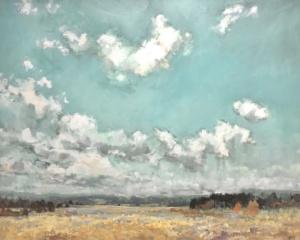 clouds, sky, fields, lavender