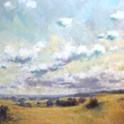 pasture, hills, clouds