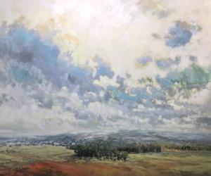 back hills, landscape painting