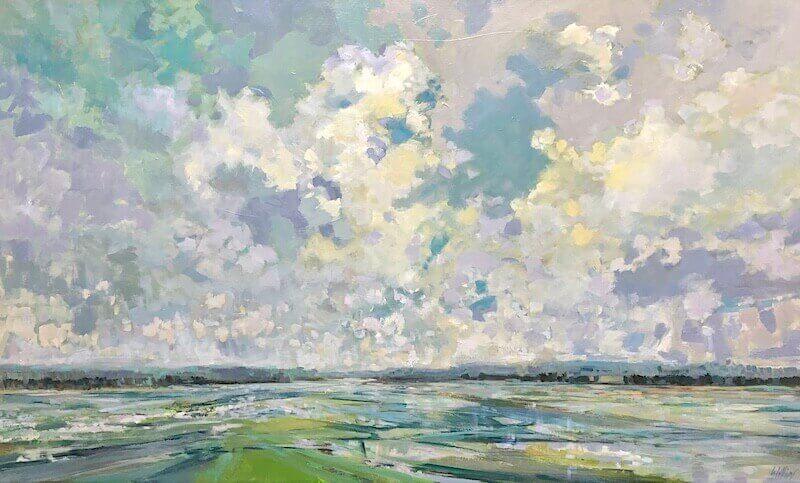 geometric pools, landscape painting