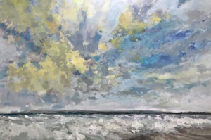 windy waves, landscape painting