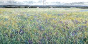 diptych, meadow, landscape, grey county, original art