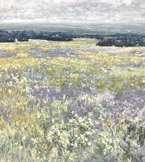 meadow, painting, grey county, landscape