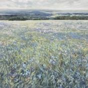 blue mountain, meadow, landscape, painting