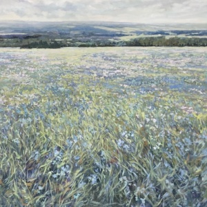 blue mountain, meadow, landscape, painting