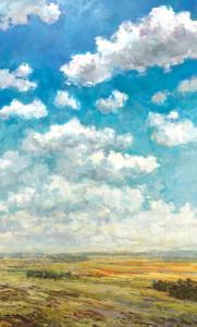 clouds, fields, painting, landscape