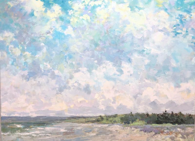 Beach, landscape, clouds, water