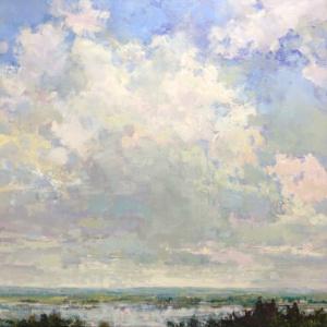clouds, lake view