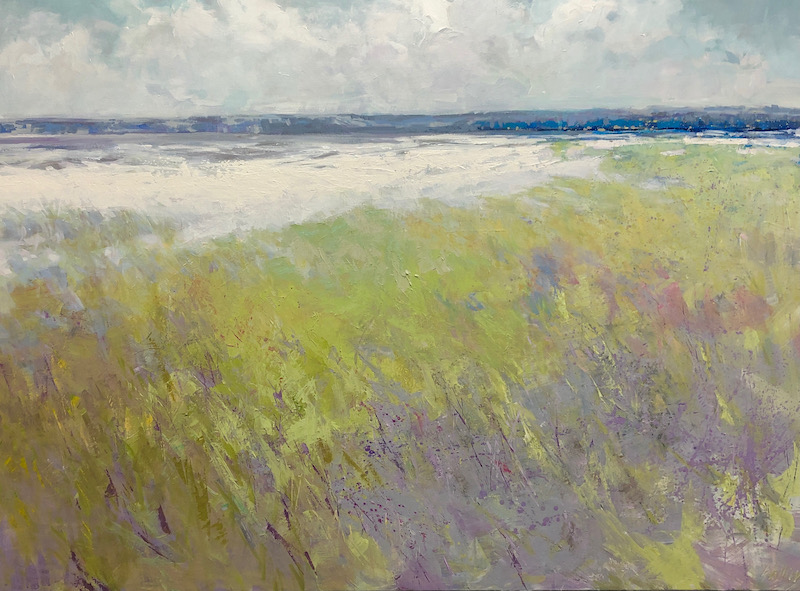 beach, grass, abstract, chartreuse green, lilac, lavender