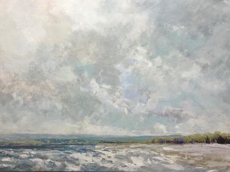 clouds, beach, waves, neutral colours