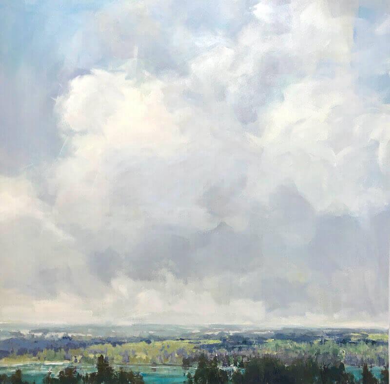 clouds, scenic, lake, soft palette