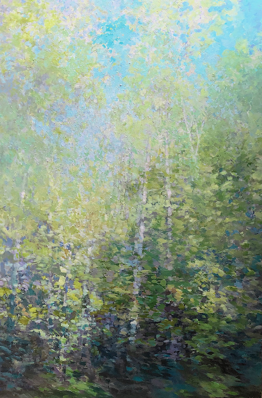 trees, forest, painting, greens and yellows